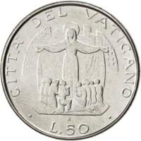 reverse of 50 Lire - John Paul II (1987) coin with KM# 201 from Vatican City. Inscription: CITTA' DEL VATICANO L.50 R