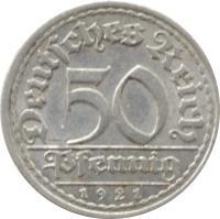 reverse of 50 Pfennig (1919 - 1922) coin with KM# 27 from Germany. Inscription: Deutsches Reich 50 Pfennig 1922