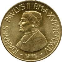 obverse of 200 Lire - John Paul II (1994) coin with KM# 256 from Vatican City. Inscription: IOANNES PAVLVS II P.M A XVI MCMXCIV A. CANEVARI DRUTTI INC.
