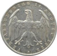 obverse of 3 Mark - 3rd Anniversary Weimar Constitution (1922 - 1923) coin with KM# 29 from Germany. Inscription: VERFASSUNGSTAG 11. AUGUST 1922 *
