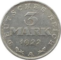 reverse of 3 Mark - 3rd Anniversary Weimar Constitution (1922 - 1923) coin with KM# 29 from Germany. Inscription: DEUTSCHES REICH 3 MARK 1922 E