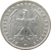 obverse of 200 Mark (1923) coin with KM# 35 from Germany. Inscription: EINIGKEIT UND RECHT UND FREIHEIT *