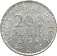 reverse of 200 Mark (1923) coin with KM# 35 from Germany. Inscription: DEUTSCHES REICH 200 MARK 1923 G