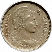 obverse of 1 Peso - Papel Moneda (1907 - 1916) coin with KM# A279 from Colombia. Inscription: REPUBLICA DE COLOMBIA
