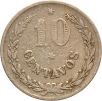 reverse of 10 Centavos - Leprosarium Coinage (1921) coin with KM# L12 from Colombia. Inscription: 10 CENTAVOS RH