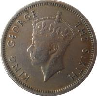 obverse of 10 Cents - George VI (1948 - 1950) coin with KM# 8 from Malaya. Inscription: KING GEORGE THE SIXTH