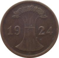 obverse of 2 Rentenpfennig (1923 - 1924) coin with KM# 31 from Germany. Inscription: A 1924