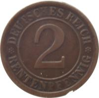 reverse of 2 Rentenpfennig (1923 - 1924) coin with KM# 31 from Germany. Inscription: DEUTSCHES REICH 2 RENTENPFENNIG