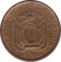 obverse of 1 Centavo (1928) coin with KM# 67 from Ecuador. Inscription: REPUBLICA DEL ECUADOR 1928