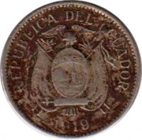 obverse of 5 Centavos (1919) coin with KM# 63 from Ecuador. Inscription: REPUBLICA DEL ECUADOR 1919