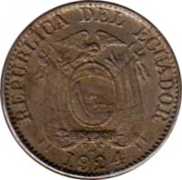 obverse of 5 Centavos (1924) coin with KM# 65 from Ecuador. Inscription: REPUBLICA DEL ECUADOR 1924 H