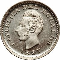 obverse of 1/2 Décimo de Sucre (1893 - 1915) coin with KM# 55 from Ecuador. Inscription: REPUBLICA DEL ECUADOR 1897