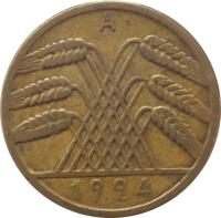 obverse of 10 Rentenpfennig (1923 - 1925) coin with KM# 33 from Germany. Inscription: A 1925