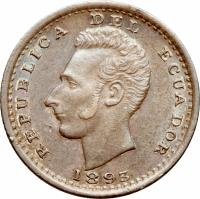 obverse of 1 Décimo (1884 - 1916) coin with KM# 50 from Ecuador. Inscription: REPUBLICA DEL ECUADOR 1893