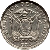 obverse of 2 1/2 Centavos (1928) coin with KM# 68 from Ecuador. Inscription: REPUBLICA DEL ECUADOR 1928