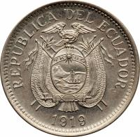 obverse of 10 Centavos (1919) coin with KM# 64 from Ecuador. Inscription: REPUBLICA DEL ECUADOR 1919