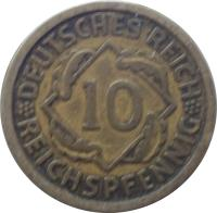 reverse of 10 Reichspfennig (1924 - 1936) coin with KM# 40 from Germany. Inscription: DEUTSCHES REICH 10 REICHSPFENNIG