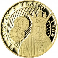 obverse of 50 Bani - Vladislav I Vlaicu (2014) coin from Romania. Inscription: VLADISLAV I VLAICU 1364