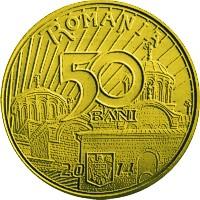reverse of 50 Bani - Vladislav I Vlaicu (2014) coin from Romania. Inscription: 50 BANI ROMANIA 2014