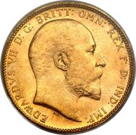 obverse of 1 Sovereign - Edward VII (1902 - 1910) coin with KM# 15 from Australia. Inscription: EDWARDVS VII D: G: BRITT: OMN: REX F: D: IND: IMP: DeS.