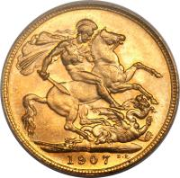 reverse of 1 Sovereign - Edward VII (1902 - 1910) coin with KM# 15 from Australia. Inscription: S B.P. 1907