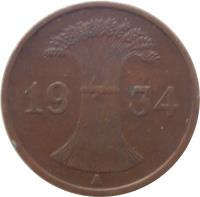 obverse of 1 Reichspfennig (1924 - 1936) coin with KM# 37 from Germany. Inscription: 1931