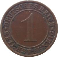 reverse of 1 Reichspfennig (1924 - 1936) coin with KM# 37 from Germany. Inscription: DEUTSCHES REICH 1 REICHSPFENNIG