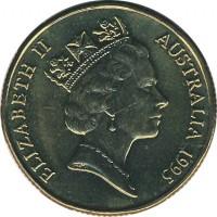 obverse of 1 Dollar - Elizabeth II - Banjo Paterson - 3'rd Portrait (1995) coin with KM# 269 from Australia. Inscription: ELIZABETH II AUSTRALIA 1995 RDM