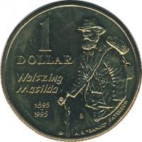 reverse of 1 Dollar - Elizabeth II - Banjo Paterson - 3'rd Portrait (1995) coin with KM# 269 from Australia. Inscription: 1 DOLLAR Waltzing Matilda 1895 1995 A.B.