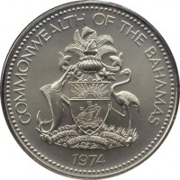 obverse of 2 Dollars - Elizabeth II (1974 - 1980) coin with KM# 66 from Bahamas. Inscription: COMMONWEALTH OF THE BAHAMAS FORWARD TOGETHER UPWARD ONWARD 1974