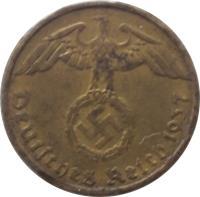 obverse of 5 Reichspfennig (1936 - 1939) coin with KM# 91 from Germany. Inscription: Deutsches Reich 1938