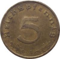 reverse of 5 Reichspfennig (1936 - 1939) coin with KM# 91 from Germany. Inscription: Reichspfennig 5 A