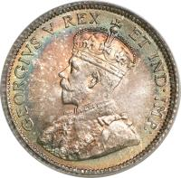 obverse of 10 Cents - George V - Without DEI GRATIA (1911) coin with KM# 17 from Canada. Inscription: GEORGIVS V REX ET IND:IMP: