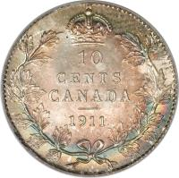reverse of 10 Cents - George V - Without DEI GRATIA (1911) coin with KM# 17 from Canada. Inscription: 10 CENTS CANADA 1911