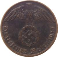 obverse of 1 Reichspfennig (1936 - 1940) coin with KM# 89 from Germany. Inscription: Deutsches Reich 1938