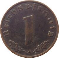 reverse of 1 Reichspfennig (1936 - 1940) coin with KM# 89 from Germany. Inscription: Reichspfennig 1 A