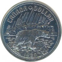 reverse of 1 Dollar - Elizabeth II - Arctic Territories (1980) coin with KM# 128 from Canada.
