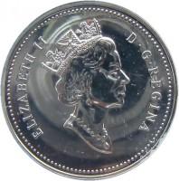 obverse of 1 Dollar - Elizabeth II - Kingston Stagecoach (1992) coin with KM# 210 from Canada. Inscription: ELIZABETH II D · G · REGINA