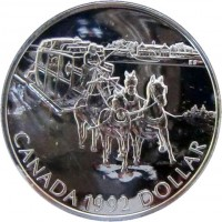 reverse of 1 Dollar - Elizabeth II - Kingston Stagecoach (1992) coin with KM# 210 from Canada. Inscription: CANADA 1992 DOLLAR
