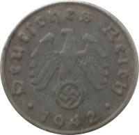 obverse of 5 Reichspfennig (1940 - 1944) coin with KM# 100 from Germany. Inscription: Deutsches Reich 1942