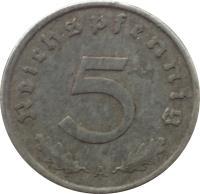 reverse of 5 Reichspfennig (1940 - 1944) coin with KM# 100 from Germany. Inscription: 5 Reichspfennig A