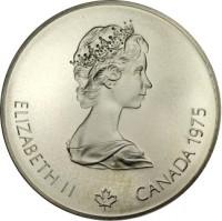 obverse of 5 Dollars - Elizabeth II - Swimming (1975) coin with KM# 100 from Canada. Inscription: ELIZABETH II CANADA 1975