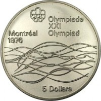 reverse of 5 Dollars - Elizabeth II - Swimming (1975) coin with KM# 100 from Canada.
