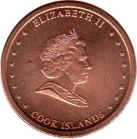 obverse of 2 Cents - Elizabeth II - 4'th Portrait (2010) coin with KM# 757 from Cook Islands. Inscription: ELIZABETH II COOK ISLANDS