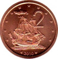 reverse of 2 Cents - Elizabeth II - 4'th Portrait (2010) coin with KM# 757 from Cook Islands. Inscription: 2 2010