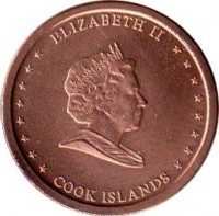 obverse of 5 Cents - Elizabeth II - 4'th Portrait (2010) coin with KM# 758 from Cook Islands. Inscription: ELIZABETH II COOK ISLANDS