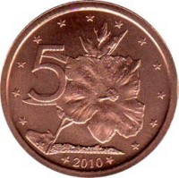 reverse of 5 Cents - Elizabeth II - 4'th Portrait (2010) coin with KM# 758 from Cook Islands. Inscription: 5 2010