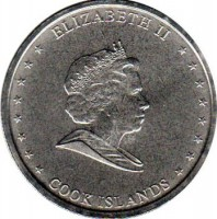 obverse of 10 Cents - Elizabeth II - 4'th Portrait (2010) coin with KM# 759 from Cook Islands. Inscription: ELIZABETH II COOK ISLANDS