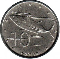 reverse of 10 Cents - Elizabeth II - 4'th Portrait (2010) coin with KM# 759 from Cook Islands. Inscription: 10 2010