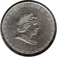 obverse of 20 Cents - Elizabeth II - 4'th Portrait (2010) coin with KM# 760 from Cook Islands. Inscription: ELIZABETH II COOK ISLANDS